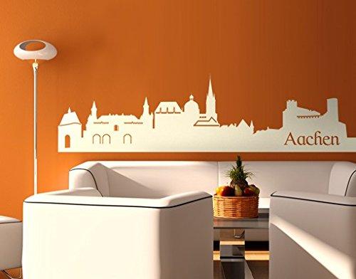 mantiburi Wandtattoo No.EG44 Aachen Skyline ll, Farbe: Braun, Maße: 37 x 137 cm