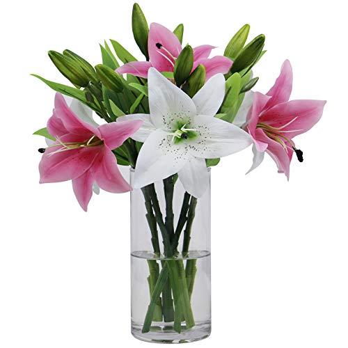 Olrla 6 bouquet di fiori artificiali di giglio, veri e propri colori misti per casa matrimoni feste negozio, decorazione della flora (rosa e bianco, 6 pezzi )