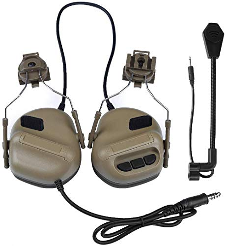 Tactical Helmet Headset Headphone Electronic Ear Protection Sound Amplification Noise Reduction Ear Muffs Shooting Defender with Detachable Microphon