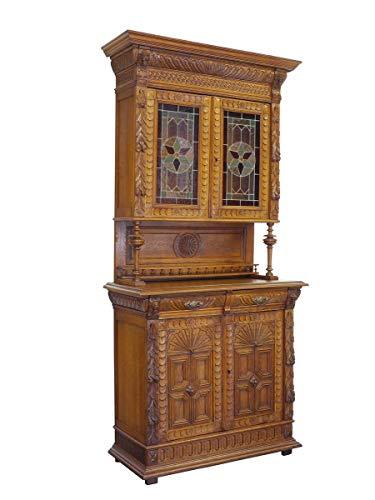Antike Fundgrube Buffet Schrank Küchenschrank Gründerzeit um 1880 2-türig Eiche B: 111 cm (9196)