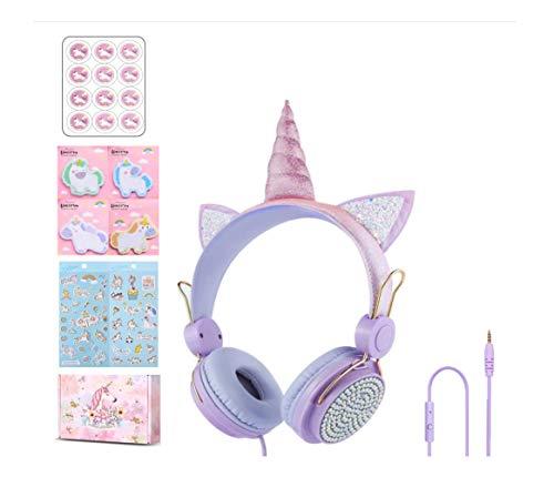 Auriculares para niños y niñas adolescentes plegable ajustable diadema auriculares estéreo sin enredos cable de 3,5 mm compatible con iPad teléfonos móviles ordenador MP3/4 Kindle Airplane