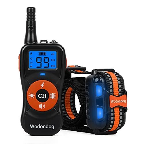 Wodondog Collar de Adiestramiento para Perros Recargable y Resistente al Agua con Vibración
