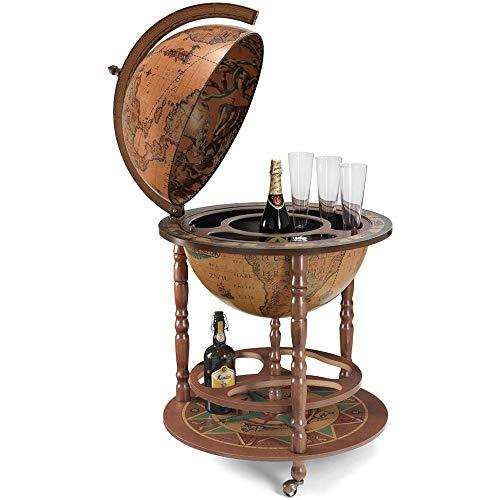Zoffoli Globus Bar Calipso 50 cm Weltkugel Hausbar mit Lenkrollen - Barschrank Getränkefach aus massivem Hartholz für Whiskey und Getränke