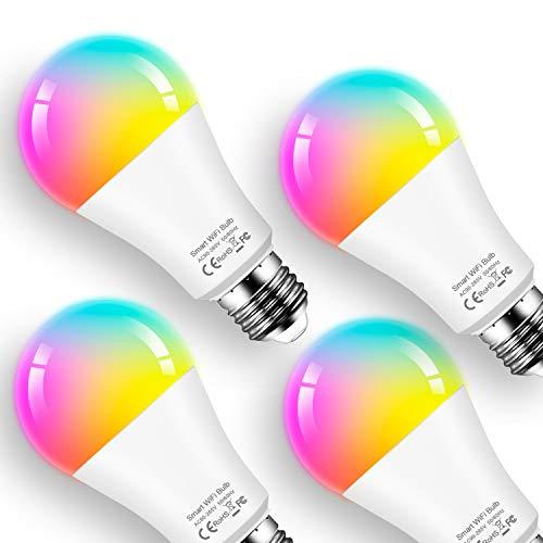 Lampadina Smart E27 lampadina alexa 12W lampadine wifi, RGB + Bianco Caldo 2700K, Lampadine a LED Dimmerabili Compatibili con Alexa Echo, Google Home Nessun hub Richiesto (4 Confezione)