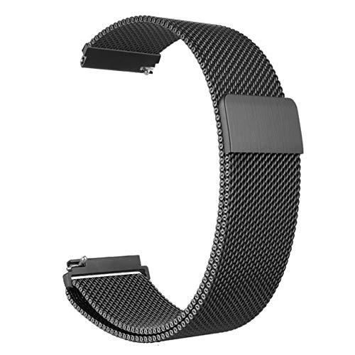 WNFYES Correa 20 Mm 22 Mm 42 Mm 46 Mm For El Reloj De Acero Inoxidable De Bucle For Samsung Gear Clásico Frontier Amazfit Bip Relojes Correas (Color : Black, Size : 20mm Gear Sport)