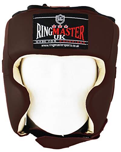 RingMaster-Casco da boxe in vera pelle, colore: marrone, uomo Donna, marrone