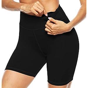 Persit Ladies Gym Shorts Workout Bike Running Shorts for Women Cycling Sport Yoga Shorts with Pocket - Black - M