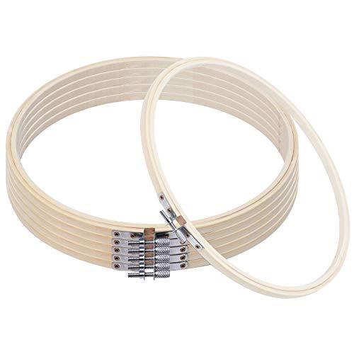 Curtzy Stickrahmen Ring (6-er Pack) - 25cm Bambus Holzringe Rahmen Rund – Verstellbare Ringe Reif Hoops zum Sticken, Stickerei, Kreuzstich, Basteln DIY, Nähen mit Stoff, Stickset