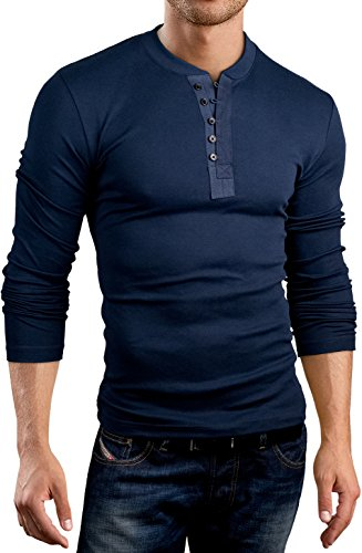 Grin&Bear Coupe Slim Contrast col à Bouton Shirt, Manches Longues, Bleu Marine, M, BH127