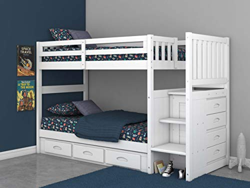 Twin Over Twin Stair Stepper Bed with 3 Drawers in White...