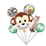 Kfdzsw Globos 1set Dibujos Animados Animal marrón Mono Aire Helio Globo Zoo Safari Granja Granja Fiesta Fiesta Decoraciones niños Baby Shower niños Juguete (Farbe : 1 Set)