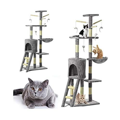 Nihui Katzenbaum Sisal Kratzbaum Kletterbaum Stabil Kratzbäume Kletterspielzentrum für Ihre Katze, Pflege für Katzenpfote, Luxus Grau Multilayer Kratzbaum
