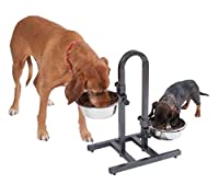 The adjustable height makes mealtimes much easier for your pets. A correctly positioned bowl will also help to slow your dog down when eating. It is ideal for all dogs of all sizes. Includes 2 stainless steel bowls which are hygienic and easy to clea...