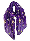 GERINLY Purple Scarf Bright Hummingbird Head Wrap Stole Voile Hijab Aesthetic Shawl Fabric Face Cover (Purple)