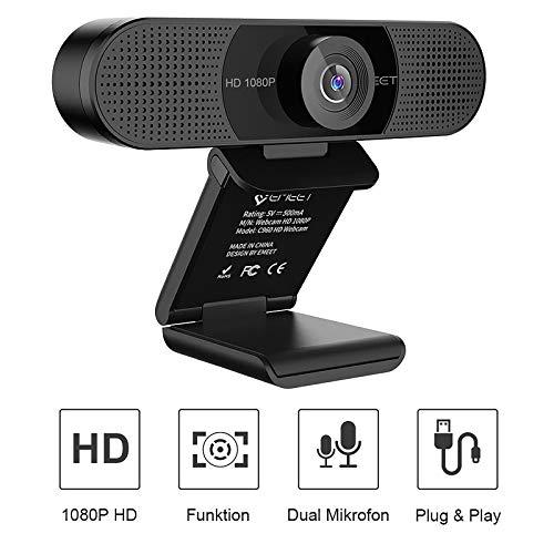 eMeet Webcam 1080P - Full HD Webcam mit Dual Mikrofon, 90 ° Sichtfeld, automatischer Lichtkorrektur, Festfokus, Plug & Play, für Win10, Mac OS X, YouTube, Skype, zum Konferenz