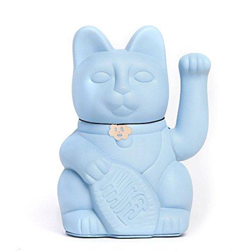Gato de la Suerte chino. Lucky Cat. Maneki Neko. COLOR AZUL CLARO 12x9x18cm