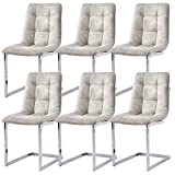 GIZZA Modern Bone Grey Dining Chairs Tuft Cushioned Padded Seat Chrome Leg Home Kitchen Room Seater Office Reception Chair, Set of 6