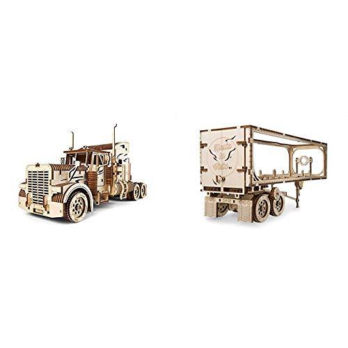 UGEARS 70056 Truck Schwerer LKW-DIY Modell-Einzigartige Geschenkidee-VM-03 Lastkraftwagen mit Fahrerhaus & 70057 Truck Trailer Anhänger für Schweren LKW-Sperrholz DIY Modell Zubehör Modellbausatz
