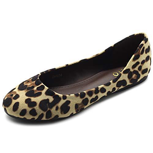 Ollio Womens Shoe Ballet Light Faux Suede Low Heels Flat ZM1014(6 B(M) US, Leopard)