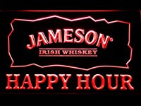 Jameson Irish Whiskey Happy Hour Bar LED看板 ネオンサイン ライト 電飾 広告用標識 W30cm x H20cm レッド