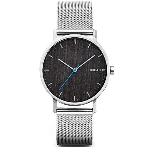 TAKE A SHOT - Holzuhr mit Zifferblatt aus Holz, silbernes Edelstahl Armband, Ø 40 mm analoge Armbanduhr mit Gehäuse aus Edelstahl - Huck