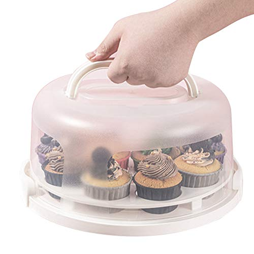 Plastic Portable Cake, Pie, Cupcake, Muffin Carrier with Removable Cupcake Holder Carrier and Collapsible Handles, Holds 11 Cupcakes (White)
