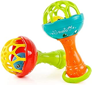 Toys&Hobbies Baby Rattles Toy Intelligence Grasping Gums Plastic Hand Bell Rattle Funny Educational Toy,Color Random Delivery