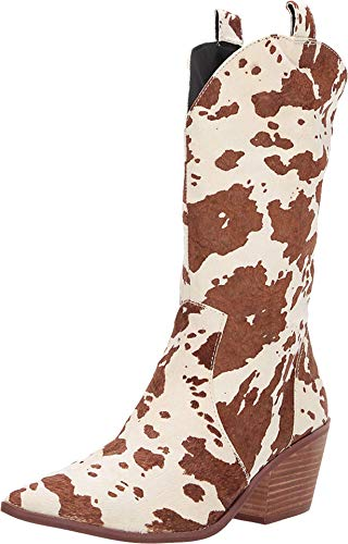 "Dingo Womens Live A Cow Pointed Toe Western Cowboy Boots Mid Calf Mid Heel 2-3"" - Brown - Size 6.5 B"