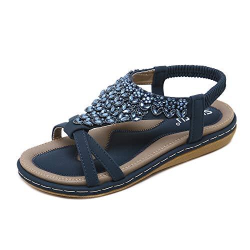 ZOEASHLEY Offene Sandalen Damen Sommer Flache Sandaletten mit Strass - Bohemian Stil, 37 EU, Blue