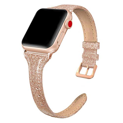 SWEES Leather Band Compatible for iWatch 38mm 40mm, Slim Thin Dressy Elegant Genuine Leather Strap Compatible for iWatch Series 6, 5, 4, 3, 2, 1, SE, Sport & Edition Women, Shiny Rose Gold