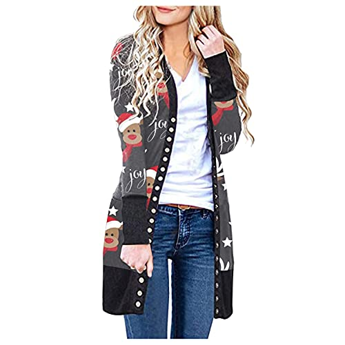 LODDD Christmas Women's Casual Cardigans V Neck Button Down Knitwear Long Sleeve Knit Plaid Coat Tops