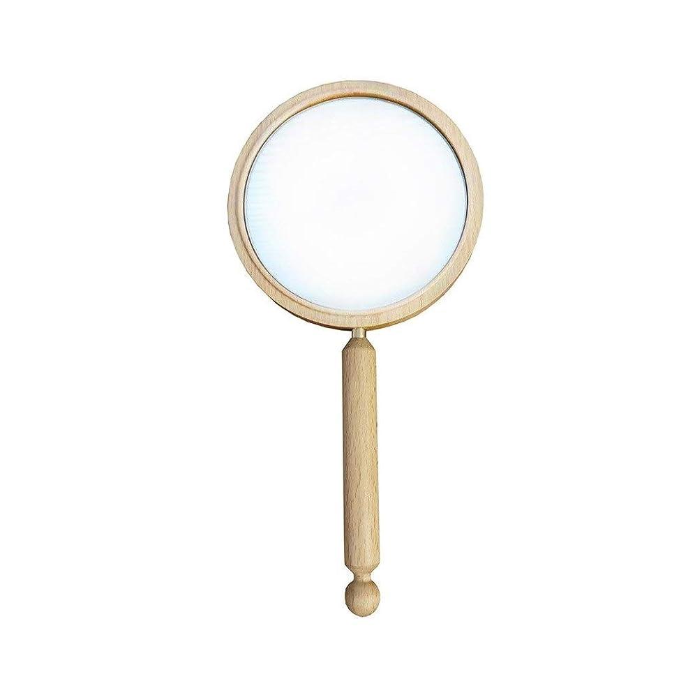 パンフレット配管業界化粧鏡 HD木製ミラー付きソリッドウッドレトロハンドル化粧鏡ポータブルハンドヘルドミラー (Color : B, Size : 280*140MM)
