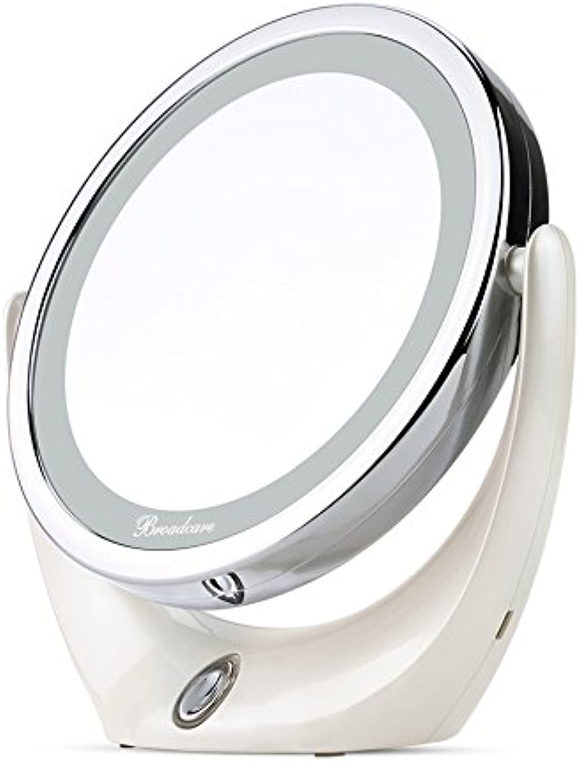Bedroom Makeup Magnifying Mirror with Lights 360 Degree Dual Sided Swivel Cordless USB Charging LED Mirrors Tabletop,175mm180mm65mm