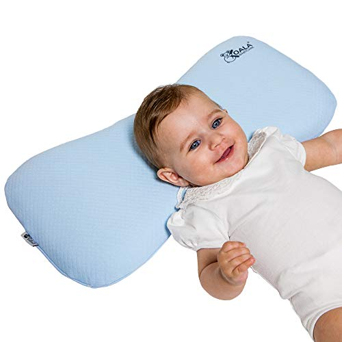 KoalaBabycare Head Care Orthopedic Cushion for Infants from 0-36 Months with Two Replacement Covers, The Pillow Prevents/Heals Plagiocephaly and Flat Head in Memory Foam Anti-Suffocation - Maxi