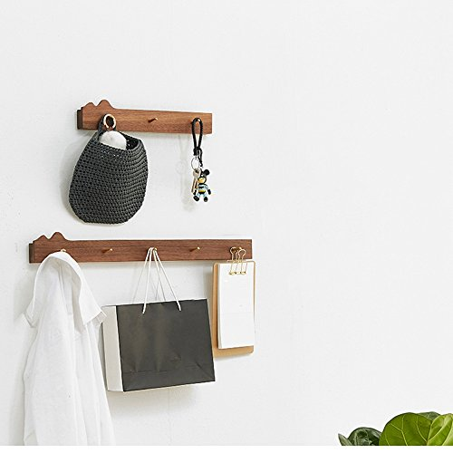 NAN Porte-manteaux Bois massif Noyer Couleur Couleur du journal 3 Crochets 5 Crochets Montage mural Simple (Couleur : Noyer Couleur, taille : Grand)