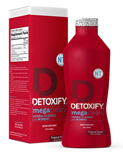 Detoxify – Mega Clean NT Herbal Cleanse – Tropical Flavor – 32 oz – Professionally Formulated Herbal Detox Drink – Enhanced with MetaBoost Eliminating Need for PreCleans