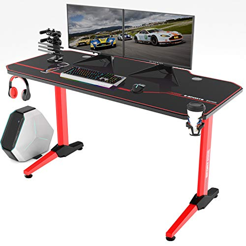 Vitesse 55 inch Gaming Desk Racing Style Computer Desk with Free Mouse pad, T-Shaped Professional Gamer Game Station with USB Gaming Handle Rack, Cup Holder & Headphone Hook (Red)