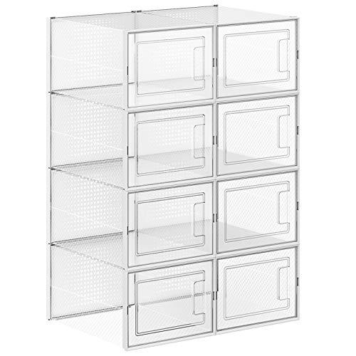 SONGMICS Schuhboxen, 8er Set, Aufbewahrungsboxen für Schuhe, Schuh-Organizer, Kunststoffboxen, faltbar und stapelbar, für Schuhe bis Größe 44, transparent-weiß LSP08MWT