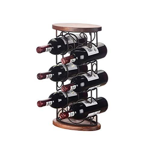 JUNYYANG Madera Botellero, 6 Botellas con Patas encimera de Metal Estante del Vino de Mesa Vino de Almacenamiento sostenedores Soportes