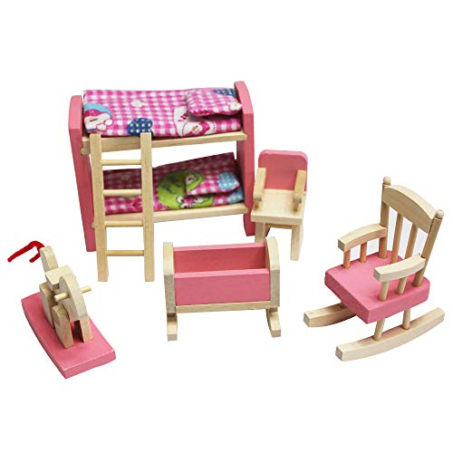 Wooden Doll House Furniture Kid Rooom Set with Accessories for Dollhouse