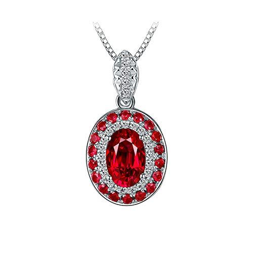 Bishilin Collar de Mujer 750 Collar de Compromiso Clásico Collar Colgante Rojo Rubí Diamante Collares Hechos A Mano para Mujer Ajuste Cómodo Oval Flor Regalos para Navidad de Cumpleaños Oro Blanco