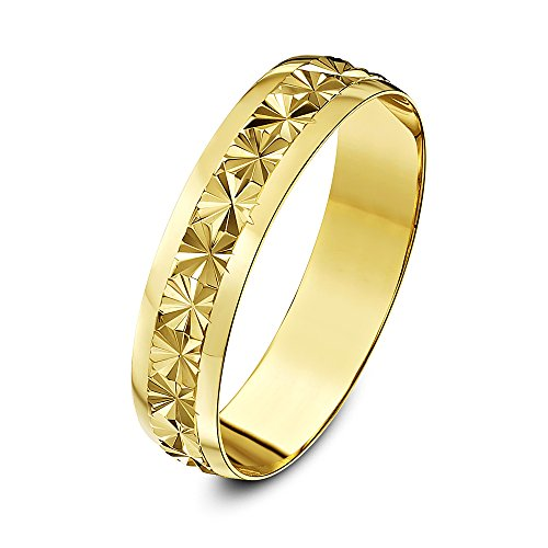 Theia 9ct Yellow Gold Heavy Weight - Star Centre Design D-Shape 5mm Wedding Ring - Size T