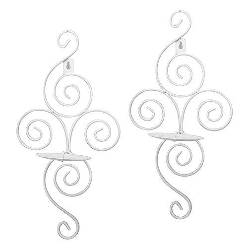 Wandkerzenleuchter,2 stücke Vintage Handgemachte Eisen Hängen Wandleuchte Kerzenhalter Wand Kerzenhalter Regal Innenausstattung Dekoration für Home Party Events Decor (Weiß)