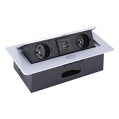 Combi Box enchufe empotrable con tapa Aluminio Cable de 3M 2x Schuko + 2x USB