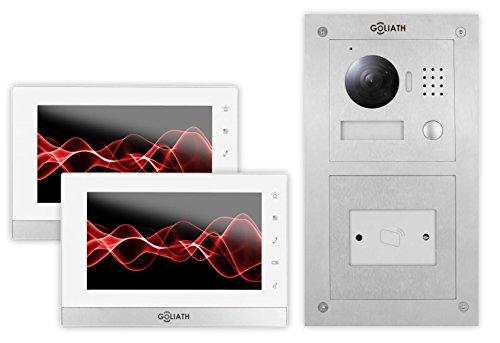 GOLIATH IP Video-Türsprechanlage, Unterputz RFID Türstation, Edelstahl, HD Kamera, Smart-Phone App, Schlüsselloser Zugang, Video-Speicher, 1 Familienhaus Set, AV-VTC54