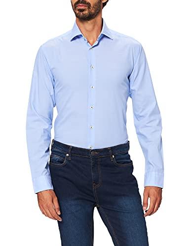 Seidensticker Herren Regular Fit Langarm Chambray Hemd, hellblau, S
