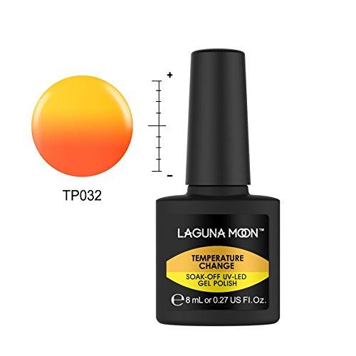 Lagunamoon Esmaltes Semipermanentes, Uñas de gel UV LED Camaleón Cambia de Color con la Temperatura, Pintauñas Semipermanentes para Manicura y Pedicura -Puesta de sol naranja
