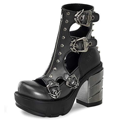 Higher-Heels Demonia Steampunk Booties Sinister-61 grau/schwarz Gr. 37