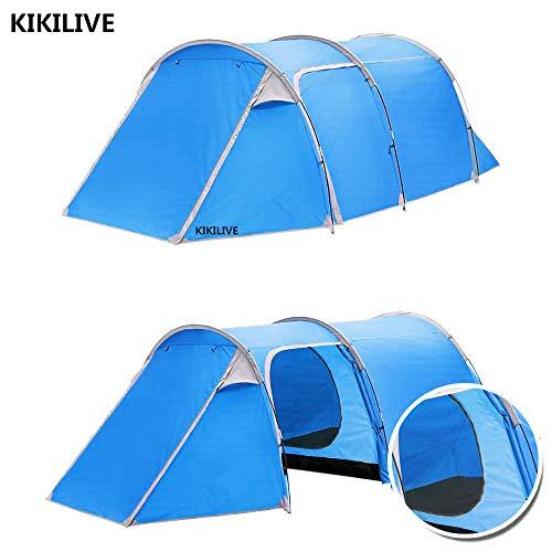 Kikilive Tienda de campaña de túneles para Acampar,Dos Habitaciones(Dormitorio y Sala de Estar),Doble Capa Impermeable 3 Puertas 4 Temporada Carpa Familiar para túneles