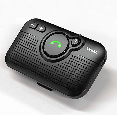 SUNITEC Kit Mains Libres pour Voiture Bluetooth 5.0,Prise en Charge de Siri Google Assistant,Récepteur de Voiture Mains Libres avec Clip de Visière